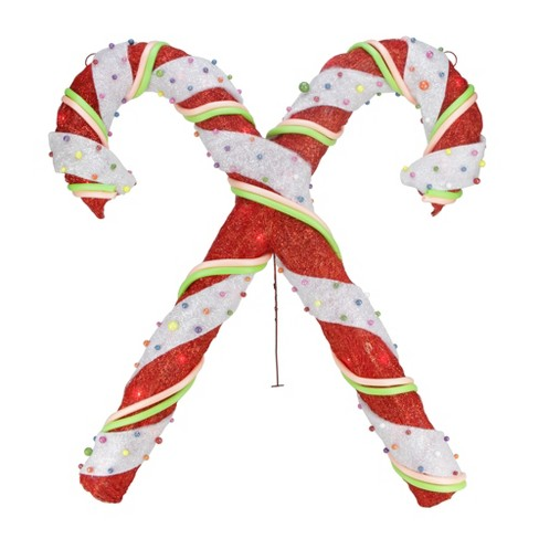 "Northlight 26"" Lighted Red & White Sisal Double Candy Cane Christmas Outdoor Decoration - image 1 of 2"