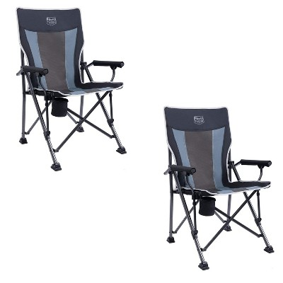 Timber Ridge Indoor Outdoor Portable Lightweight Folding Camping High Back Lounge Chair with Cup Holders and Carry Bags, Black (Pack of 2)