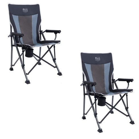 Timber Ridge Indoor Outdoor Portable Lightweight Folding Camping High Back Lounge Chair with Cup Holders and Carry Bags, Black (Pack of 2) - image 1 of 4