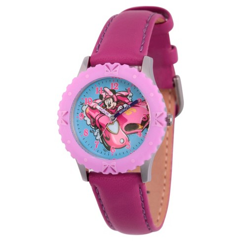 Girls' Disney Minnie Mouse Stainless Steel Time Teacher Watch - Purple - image 1 of 1
