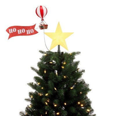 Mr. Christmas Animated Rotating Christmas Tree Topper - Santa in Balloon with banner