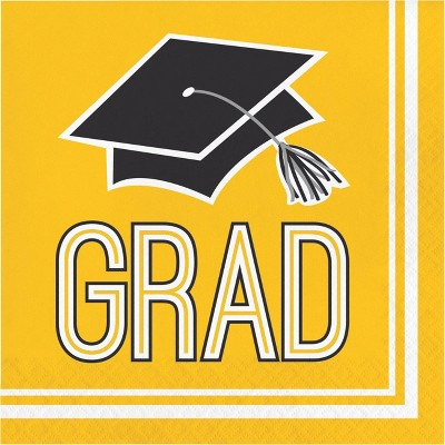 108ct Graduation School Spirit Napkins Yellow