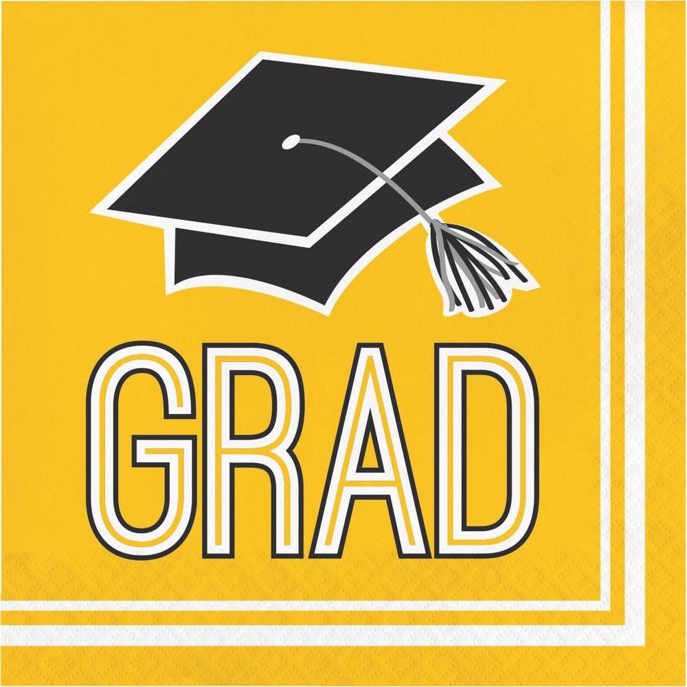 Image of 108ct Graduation School Spirit Napkins Yellow, White Yellow Black