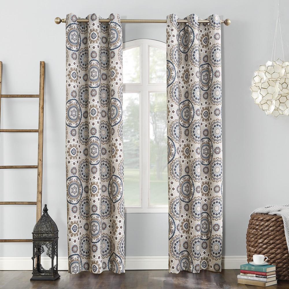 Nepal Global Print Blackout Grommet Curtain Panel Linen 40