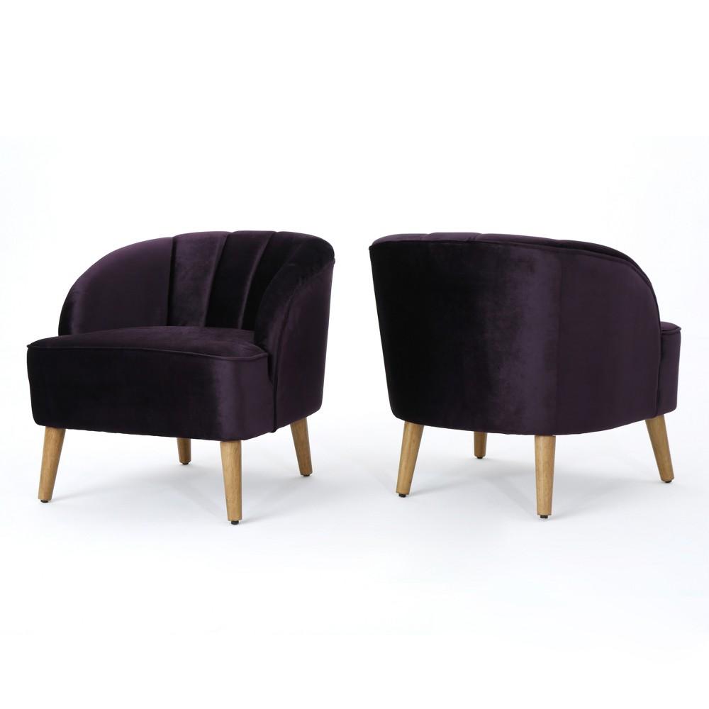 Set of 2 Amaia Modern New Velvet Club Chair Blackberry - Christopher Knight Home
