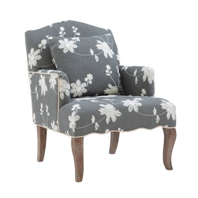 Floral Upholstered Armchair - Gray - Linon