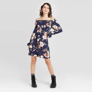 Women's Floral Print Long Sleeve Smocked Top Mini Dress - Xhilaration™ Navy S