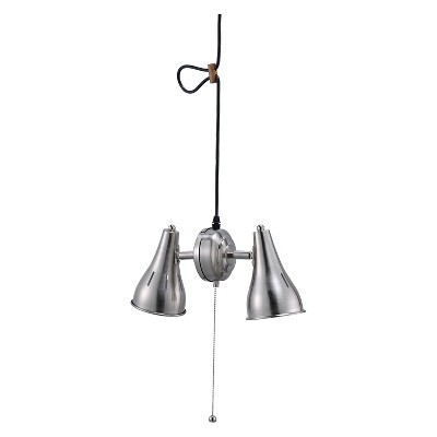 """7"""" Traditional Metal Cone Pendant Hanging Ceiling Lamp Silver - Ore International"""