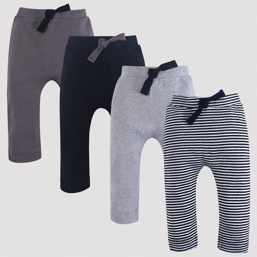 Image of Touched by Nature Baby 4pk Harem Organic Cotton Pull-On Pants - Black/Gray 9M, Kids Unisex