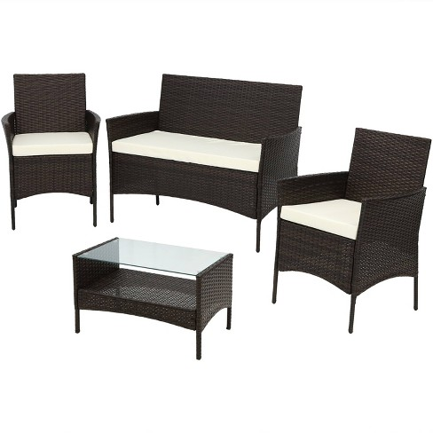 Galway 4pc Rattan Outdoor Patio Furniture Set with Cushions - Sunnydaze  Decor - Galway 4pc Rattan Outdoor Patio Furniture Set With Cushions