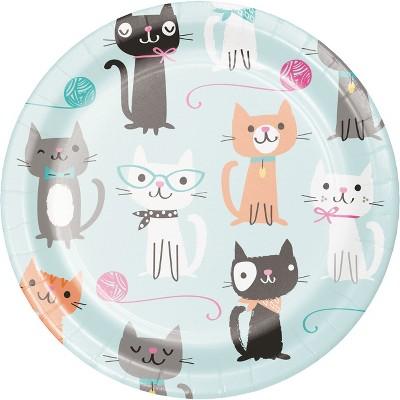 24ct Cat Party Dessert Plates Blue