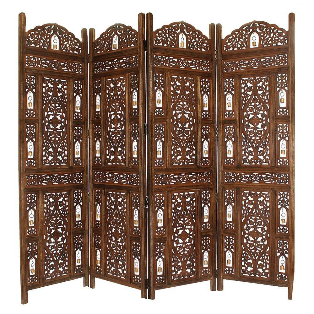 Image of Handcrafted Wooden 4 Panel Room Divider Coffee - The Urban Port