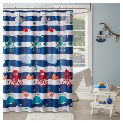 Walter the Whale Microfiber Printed Shower Curtain Navy