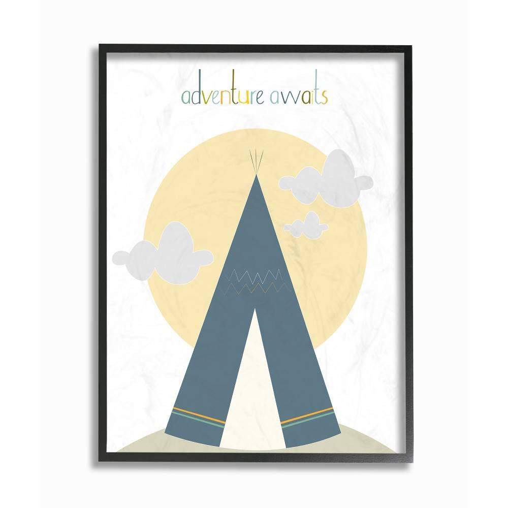"Image of ""11""""x1.5""""x14"""" Adventure Awaits Tee Pee In Blue Framed Giclee Texturized Art - Stupell Industries"""