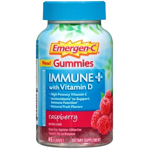 Emergen-C Immune+ with Vitamin D Gummies - Raspberry Flavor - 45ct - image 1 of 3