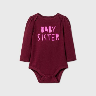 Baby Girls' 'Baby Sister' Long Sleeve Bodysuit - Cat & Jack™ Burgundy 0-3M