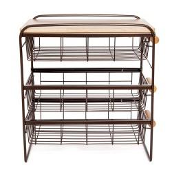 Origami Wood Top Steel Kitchen Organizer 3 Mesh Basket Sliding Drawer, Brown