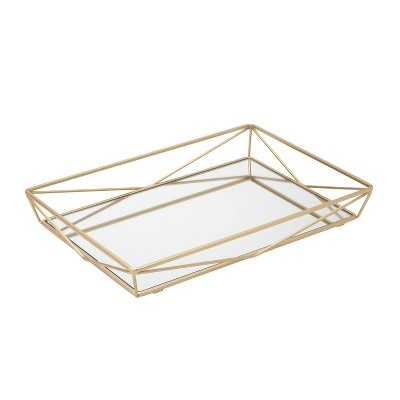 Large Geometric Mirrored Vanity Tray Gold - Home Details