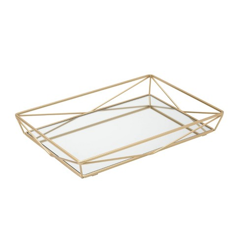 Large Geometric Mirrored Vanity Tray Gold - Home Details - image 1 of 4