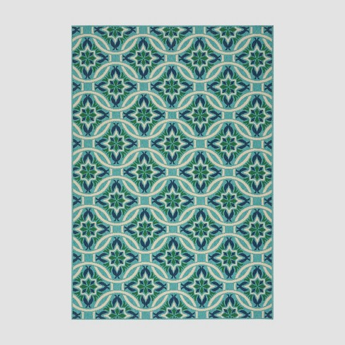 5' x 8' Jada Geometric Outdoor Rug Blue/Green - Christopher Knight Home - image 1 of 4