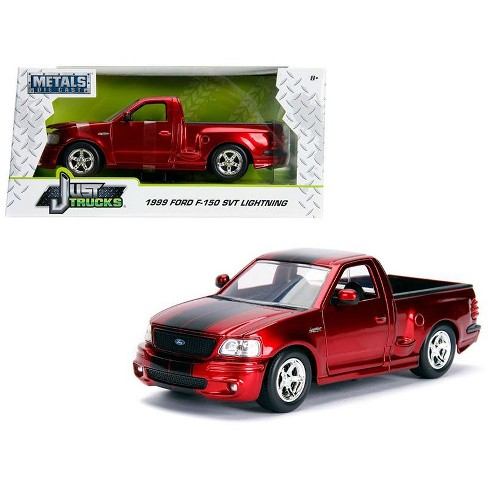 """1999 Ford F-150 SVT Lightning Pickup Truck Candy Red with Black Stripes """"Just Trucks"""" Series 1/24 Diecast Model by Jada - image 1 of 4"""