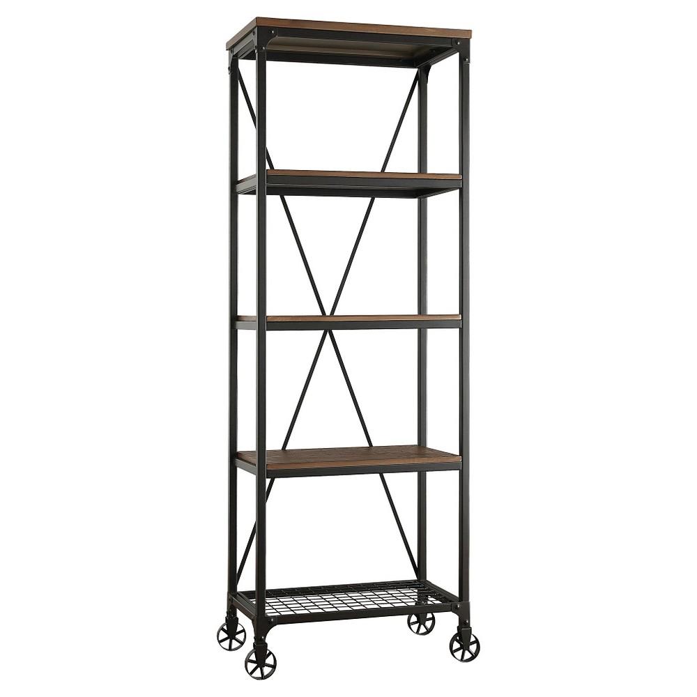 Merida 74.5 4 Shelf Mixed Media Bookcase - Homelegance