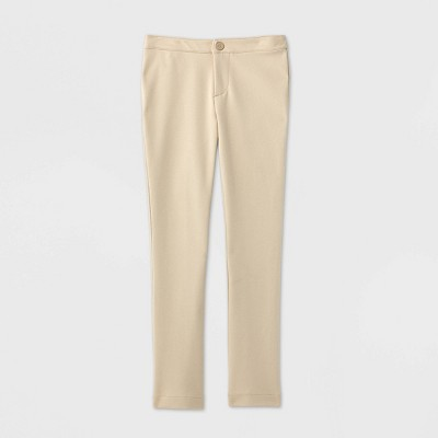 Girls' Stretch Uniform Ponte Pants - Cat & Jack™ Khaki