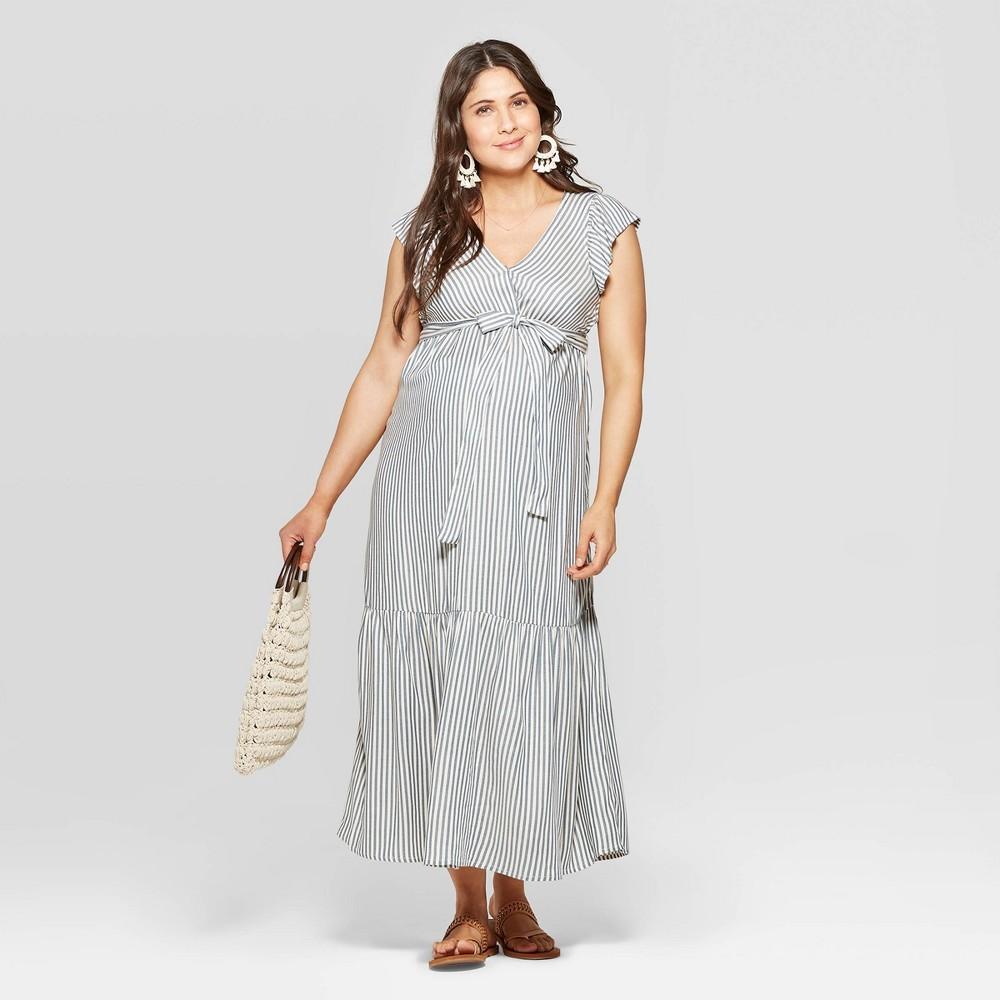 0bb4c7865c30c Maternity Striped Short Sleeve V Neck Neck Midi Dress Isabel Maternity by Ingrid  Isabel Blue L Womens