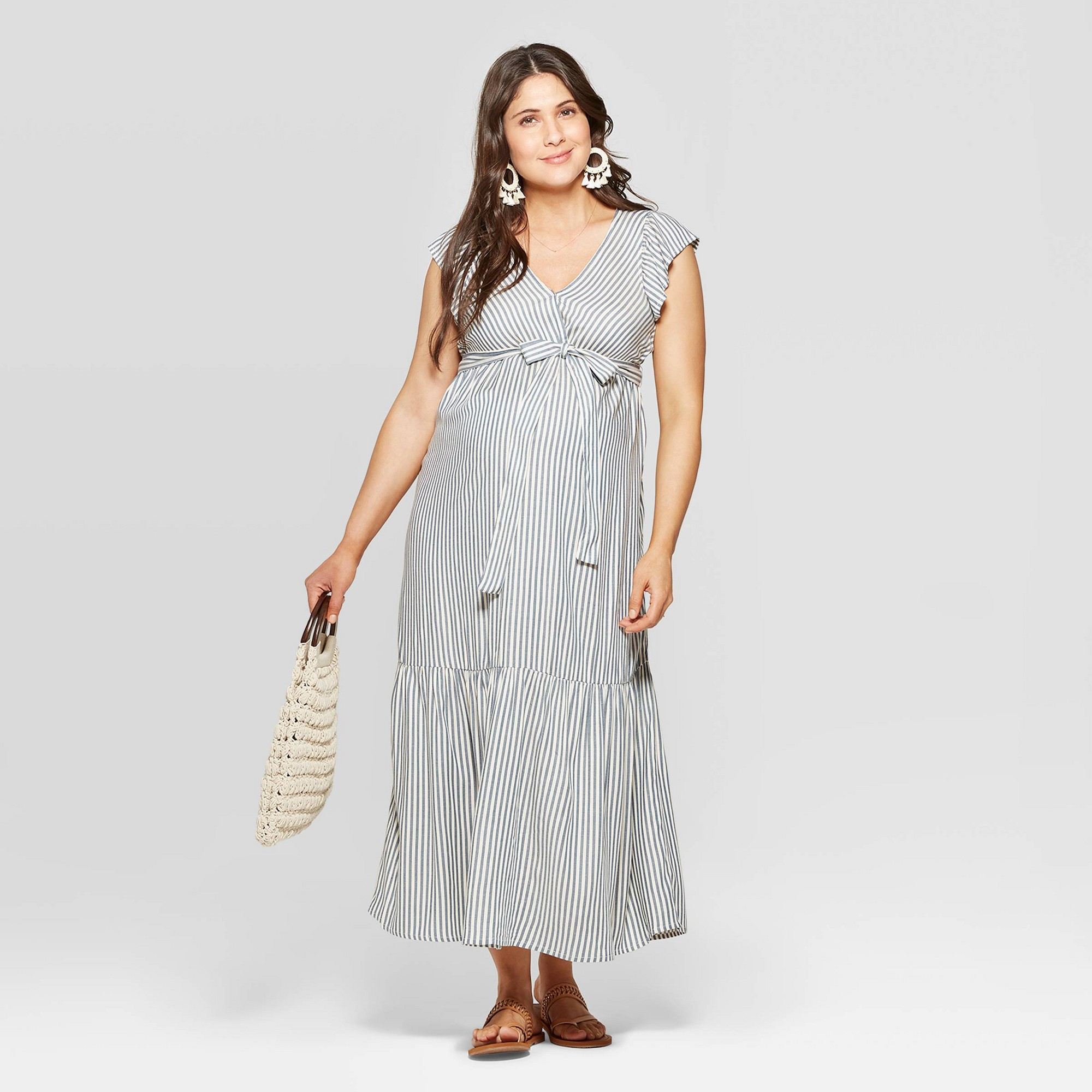 Maternity Striped Short Sleeve V-Neck Neck Midi Dress - Isabel Maternity by Ingrid & Isabel Blue M, Women's, Gray