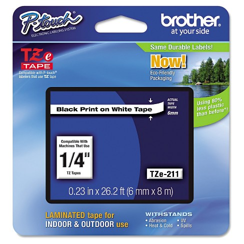 Brother P-Touch TZe Standard Adhesive Laminated Labeling Tape - Black/White - image 1 of 1