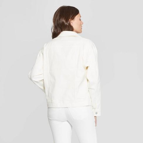 bfab815171 Women's Oversized Long Sleeve Ecru Trucker Jeans Jacket - Universal Thread™  XXL