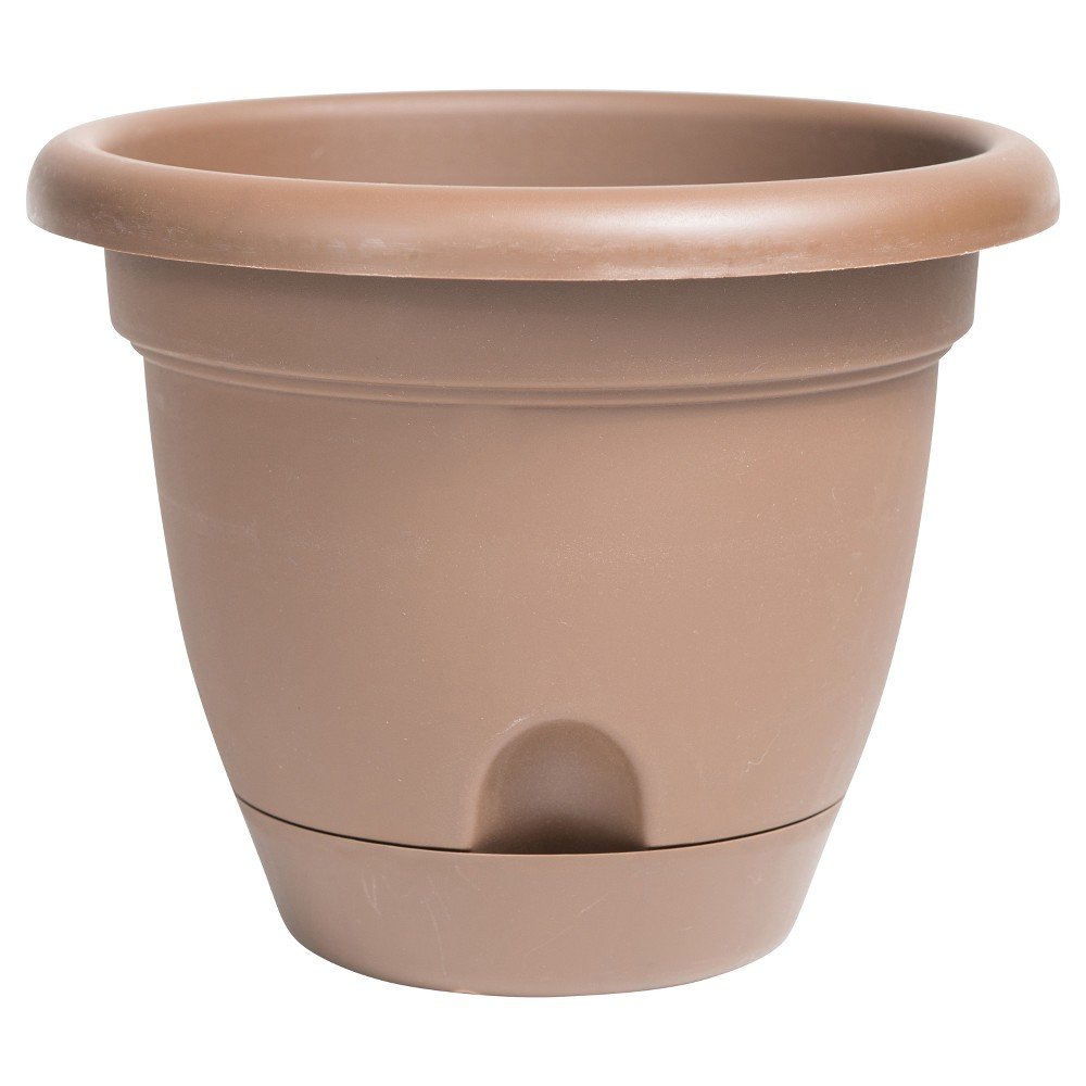 """Image of """"12"""""""" Lucca Self Watering Planter Chocolate Bloem, Size: 12"""""""", Brown"""""""