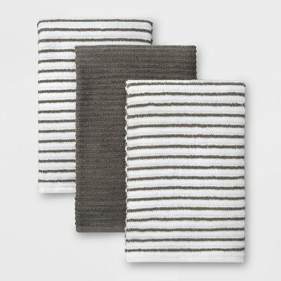 3pk Cotton Striped Barmops Gray - Room Essentials™