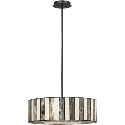 "Robert Louis Tiffany Black Drum Pendant Chandelier 20"" Wide Modern Tiffany Style Black White Striped Art Glass Fixture for Kitchen"