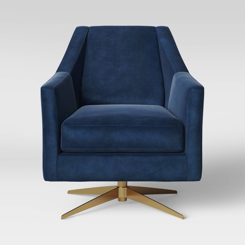 Tate Swivel Chair with Metal Base Blue - Project 62