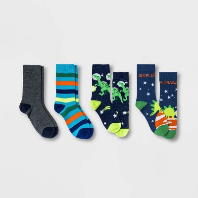 Boys' 4pk Dino Crew Socks - Cat & Jack™ Navy