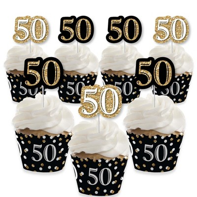 Big Dot of Happiness Adult 50th Birthday - Gold - Cupcake Decoration - Birthday Party Cupcake Wrappers and Treat Picks Kit - Set of 24