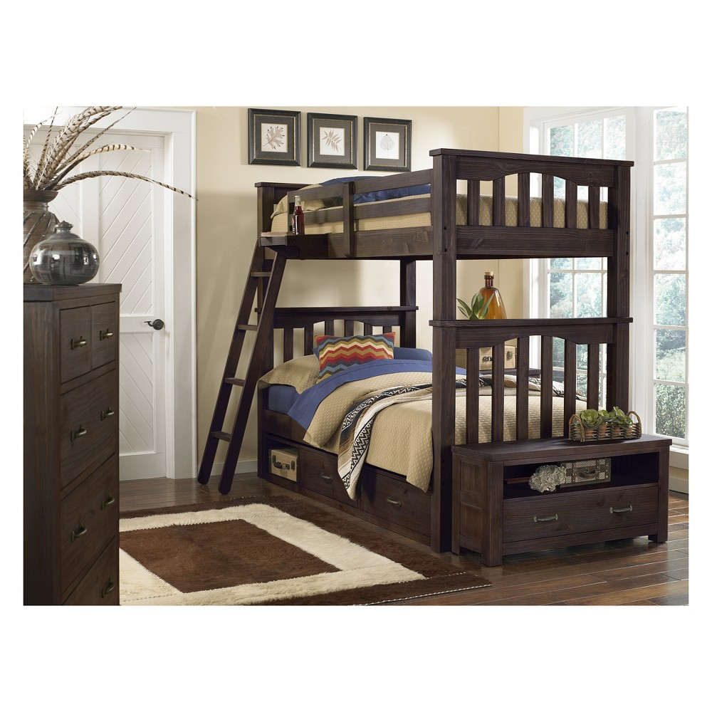 Full Over Full Highlands Harper Bunk Bed with 2 Storage Units Espresso (Brown) - Hillsdale Furniture