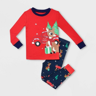 Toddler Boys' Rudolph the Red-Nosed Reindeer 2pc Gifts Pajama Set - Red 12M