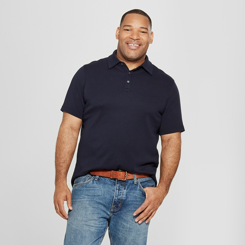 Men's Big & Tall Short Sleeve Elevated Ultra-Soft Polo Shirt - Goodfellow & Co Williamsburg Navy 5XBT