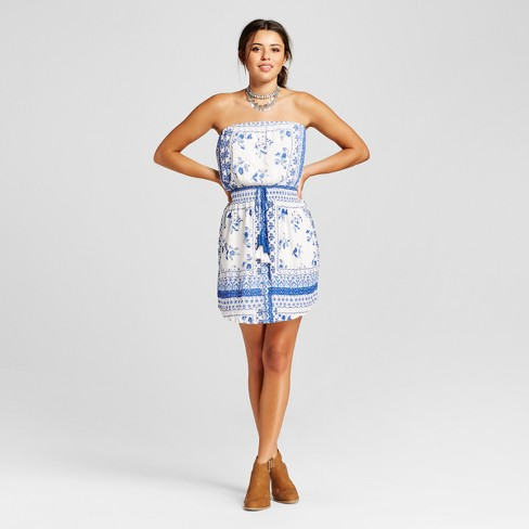 Women's Printed Tub Dress with Tassel Ties - Xhilaration™ (Juniors') - image 1 of 2