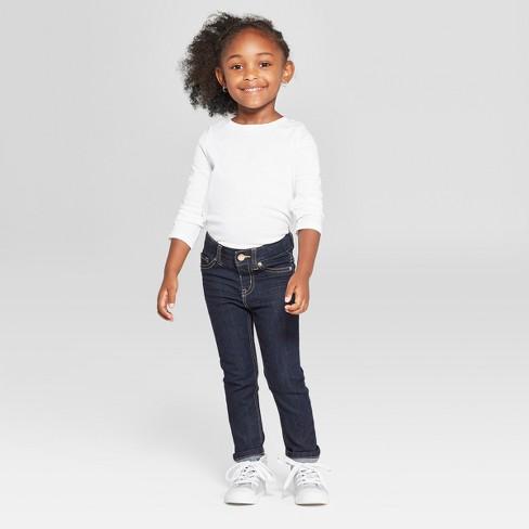 Toddler Girls' Jeans - Cat & Jack™ Dark Blue - image 1 of 4