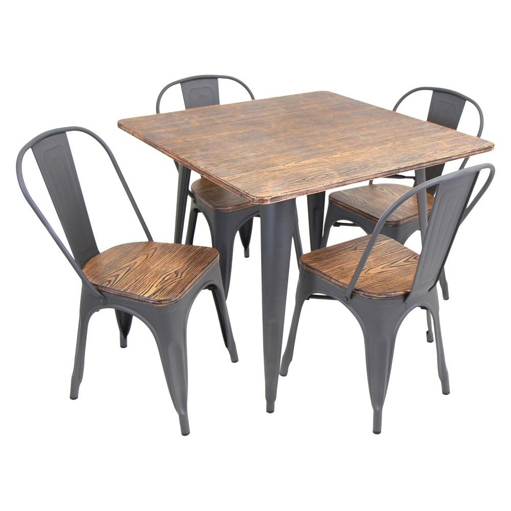 5 Piece Oregon Dining Table Set Metal/Vintage Gray - LumiSource