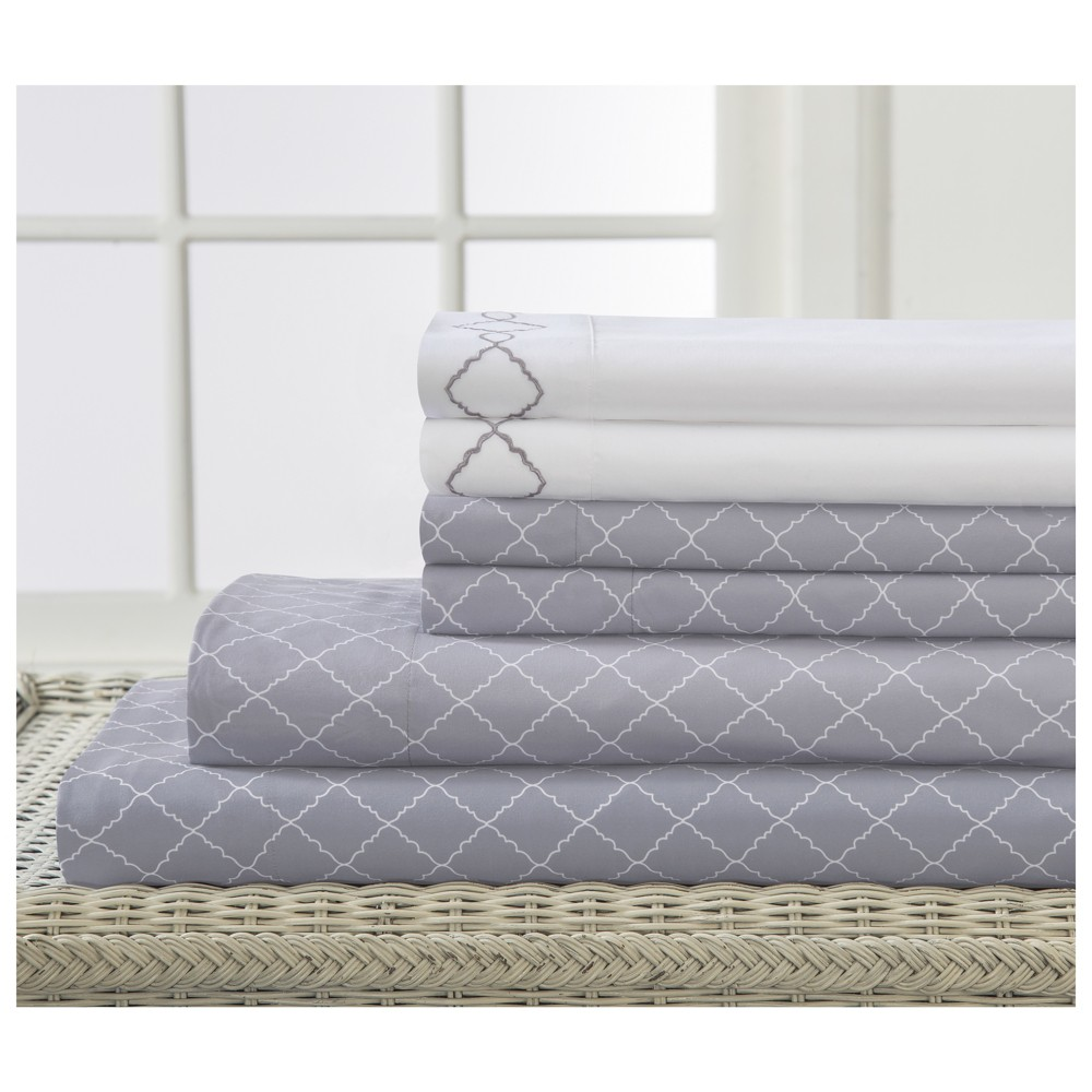 Revina Embroidered Microfiber Sheet Set (King) Gray - Elite Home Products