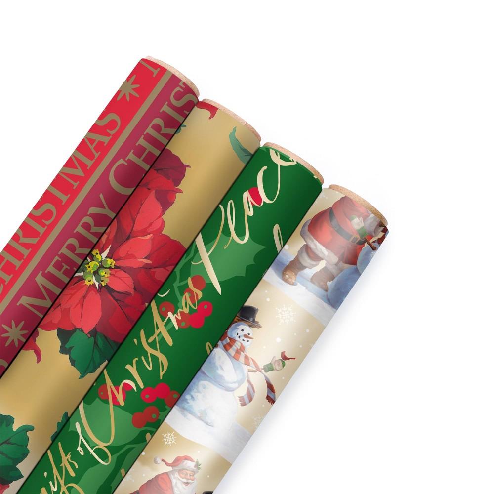 Image of 4ct/150 sq ft Hallmark Christmas Gift Wrap Kraft/ Green/ Red - 150 sq ft