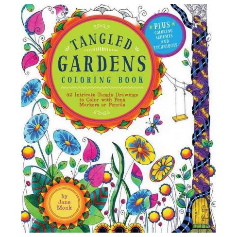 Tangled Gardens Adult Coloring Book 52 Intricate Tangle Drawings To