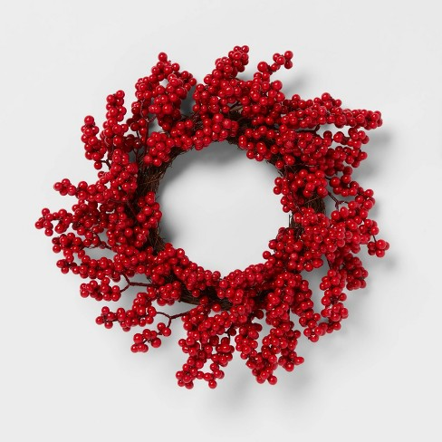 """12"""" Artificial Berries Wreath Red - Threshold™ - image 1 of 3"""