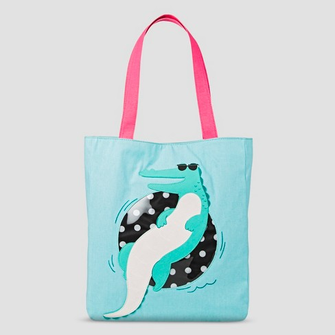 Girls' Alligator Aplique Canvas Handbag - Cat & Jack™ Aqua - image 1 of 1