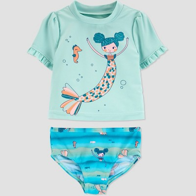 Baby Girls' Mermaid Short Sleeve Rash Guard Set - Just One You® made by carter's Green
