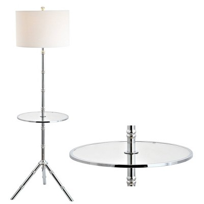 "62"" Metal Hall End Table Floor Lamp (Includes Energy Efficient Light Bulb) - JONATHAN Y"